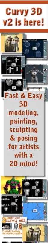 Curvy 3D fast and easy 3D modeling, sculpting, painting, posing for 2D artists