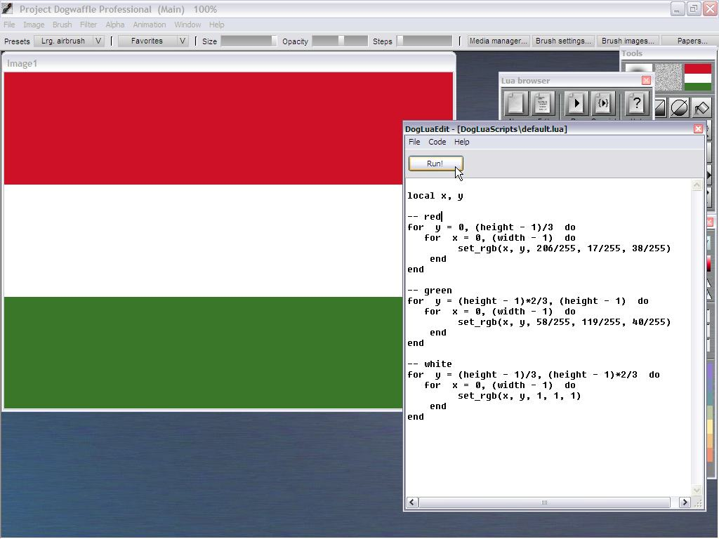 Lua tutorial: the Gambian flag script