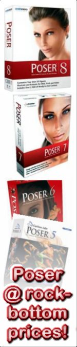 Poser 7 and Poser 8 on sale