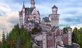 3D                             rendering of German castle Schloss                             Neuschwanstein, modeled in Amapi and Cinema                             4D by Shlomi Mallachi