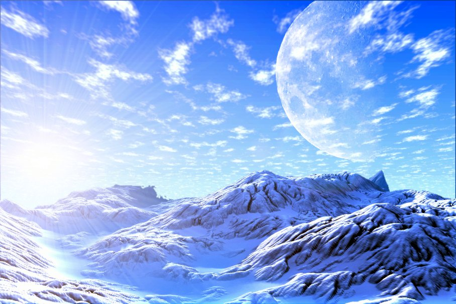fantasy landscape with snow and Moon rising